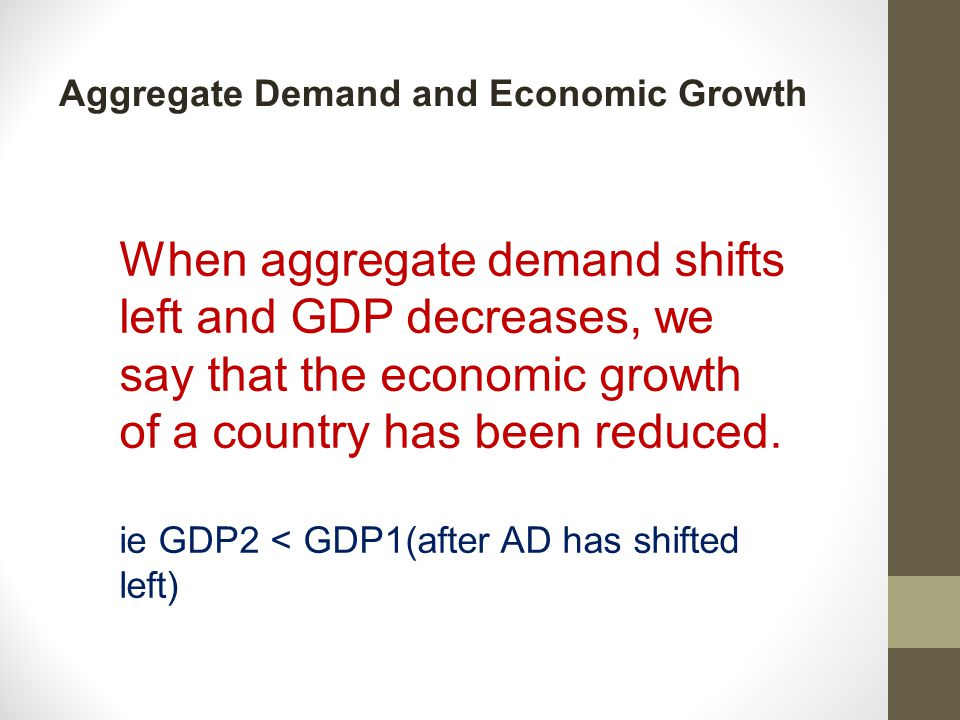 Aggregate Demand and Economic Growth When aggregate demand shifts left and GDP decreases, we say that the economic growth of a country has been reduced.