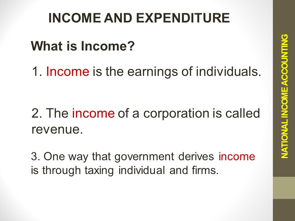 NATIONAL INCOME ACCOUNTING INCOME AND EXPENDITURE 1.