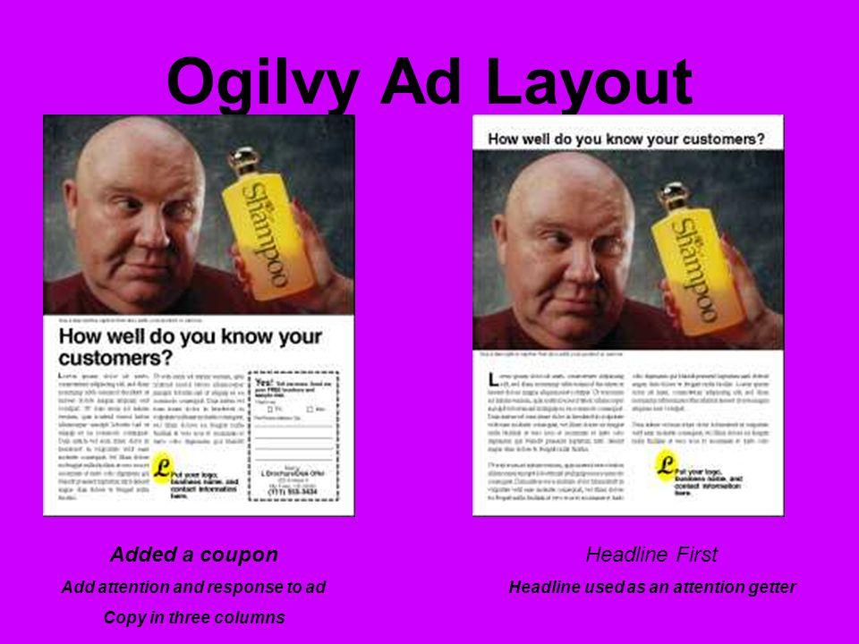 Ogilvy Ad Layout Added a coupon Add attention and response to ad Copy in three columns Headline First Headline used as an attention getter