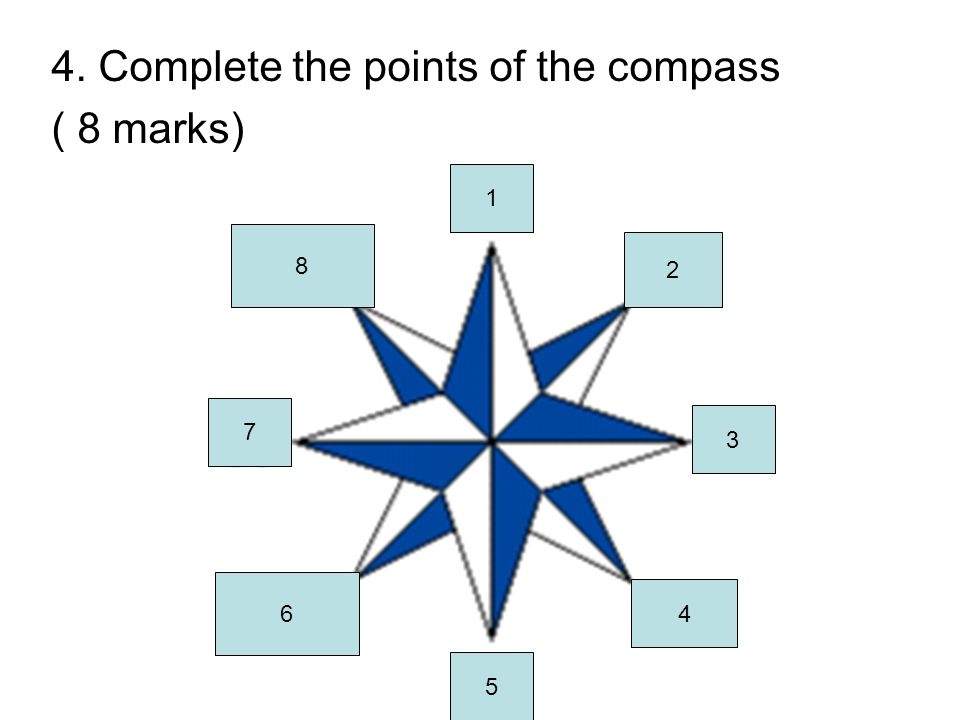 4. Complete the points of the compass ( 8 marks) 1 2 3 4 5 6 7 8