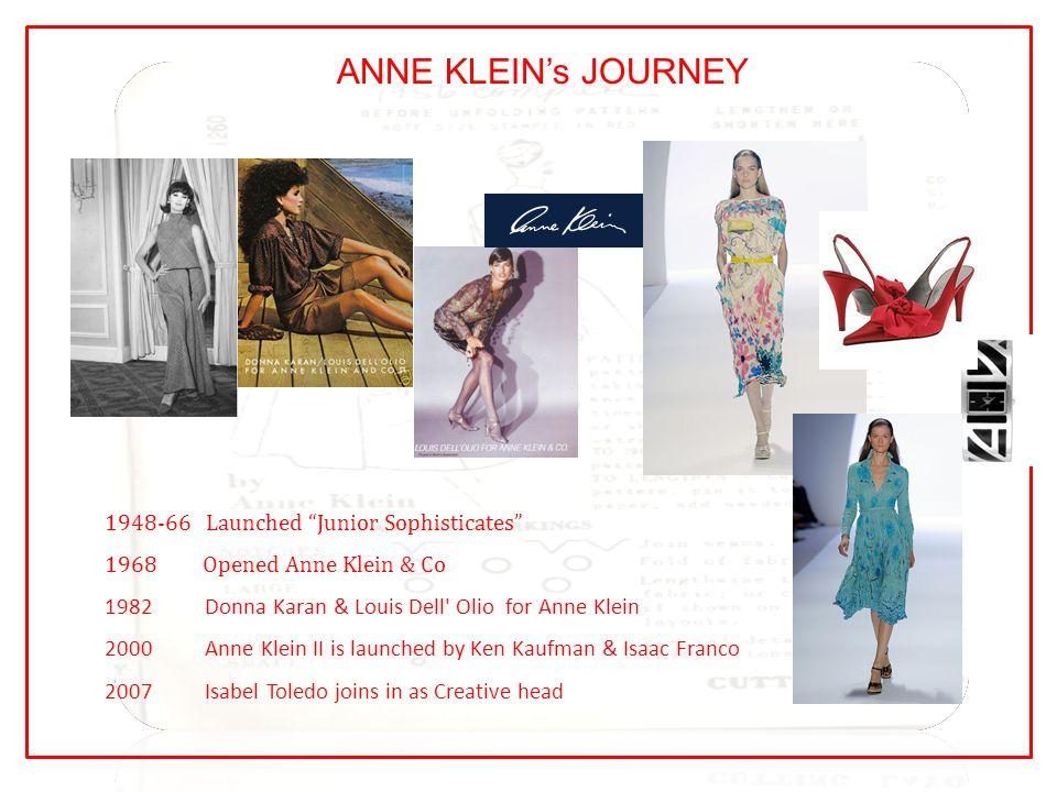 "ANNE KLEIN's JOURNEY 1948-66 Launched ""Junior Sophisticates"" 1968 Opened Anne Klein & Co 1982 Donna Karan & Louis Dell' Olio for Anne Klein 2000 Anne"