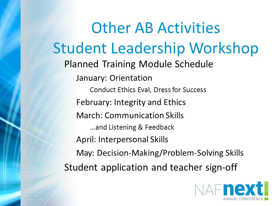 Other AB Activities Student Leadership Workshop Planned Training Module Schedule January: Orientation Conduct Ethics Eval, Dress for Success February: Integrity and Ethics March: Communication Skills …and Listening & Feedback April: Interpersonal Skills May: Decision-Making/Problem-Solving Skills Student application and teacher sign-off