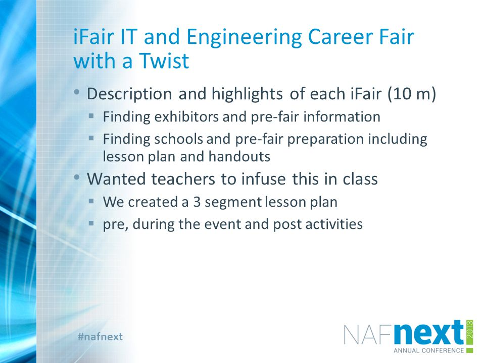 #nafnext iFair IT and Engineering Career Fair with a Twist  At the fair – for students, for exhibitors