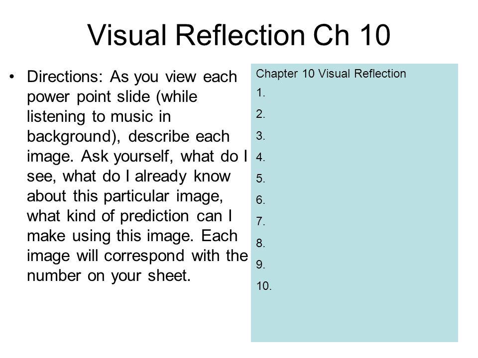 Chapter 10 Visual Reflection