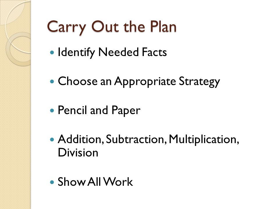 Carry Out the Plan Identify Needed Facts Choose an Appropriate Strategy Pencil and Paper Addition, Subtraction, Multiplication, Division Show All Work