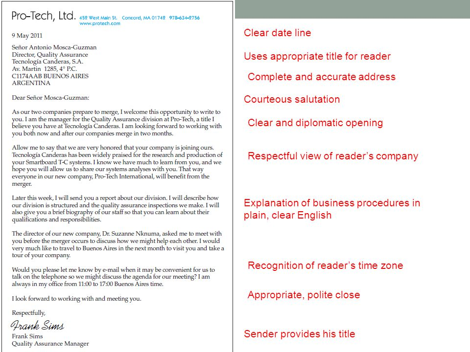 Clear date line Uses appropriate title for reader Complete and accurate address Courteous salutation Clear and diplomatic opening Respectful view of reader's company Explanation of business procedures in plain, clear English Recognition of reader's time zone Appropriate, polite close Sender provides his title