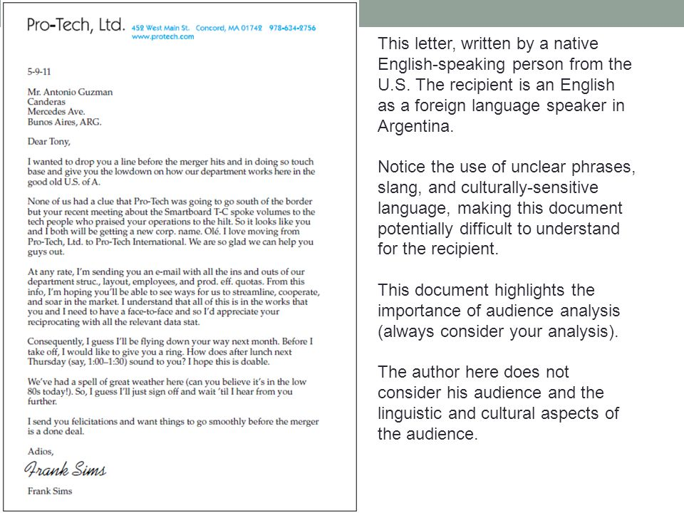 This letter, written by a native English-speaking person from the U.S.