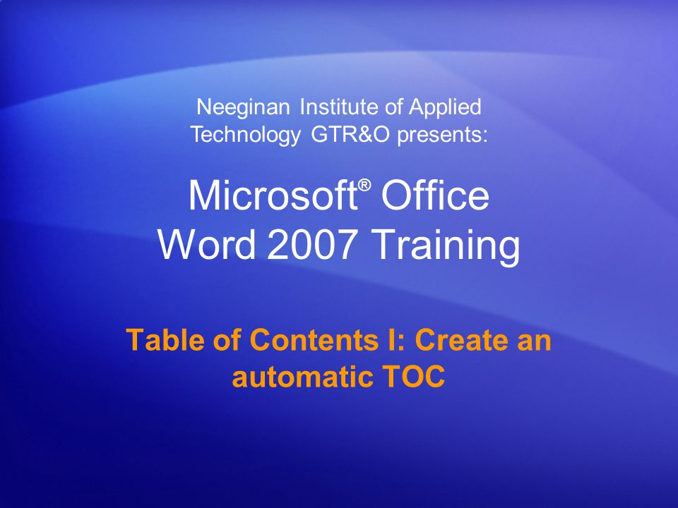 Table of Contents I: Create an automatic TOC Course contents Overview: A quick and simple TOC Lesson: Get started on a table of contents The lesson includes a list of suggested tasks and a set of test questions.