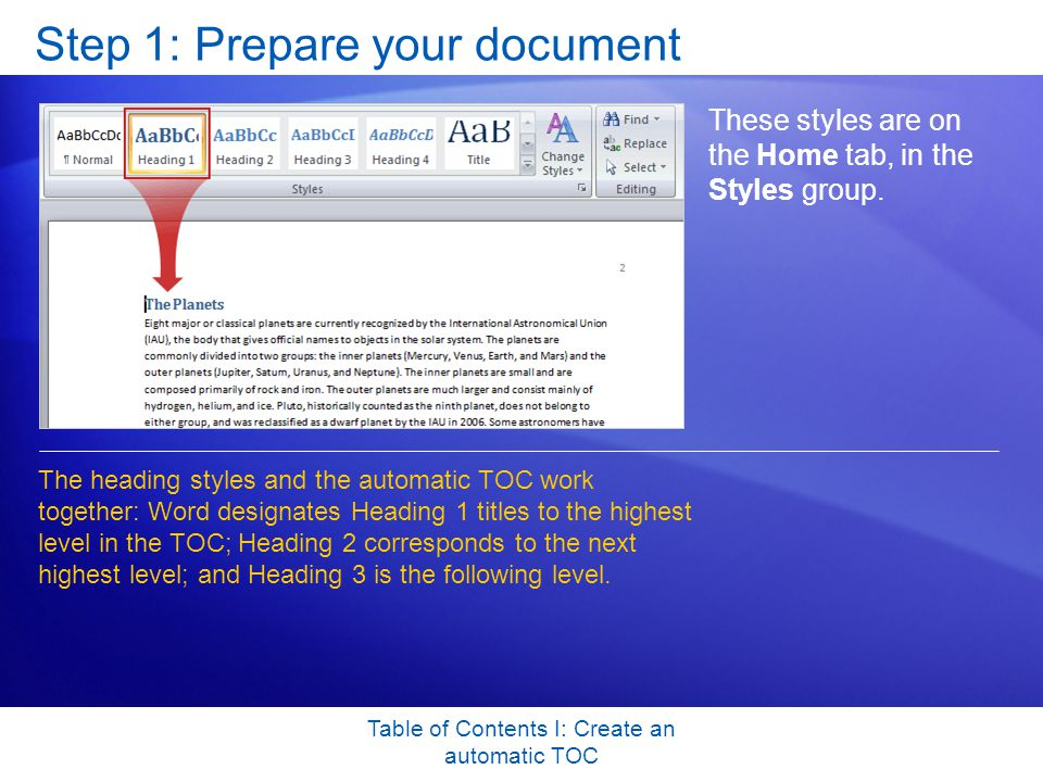 Table of Contents I: Create an automatic TOC Step 1: Prepare your document These styles are on the Home tab, in the Styles group.