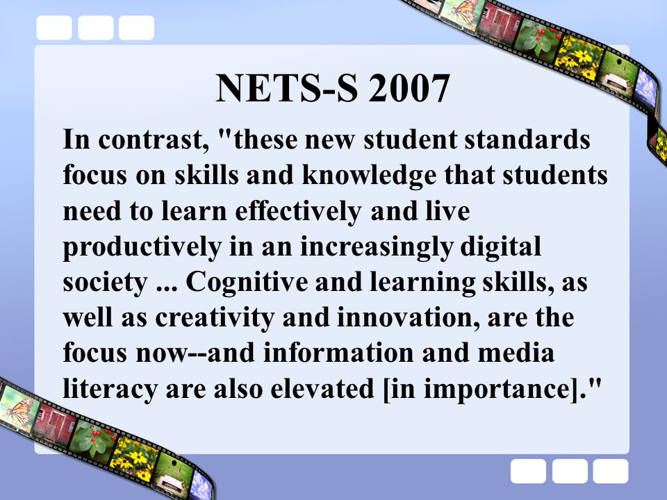 The Question What are the implications of the Refreshed NETS-S for Vermont educators?