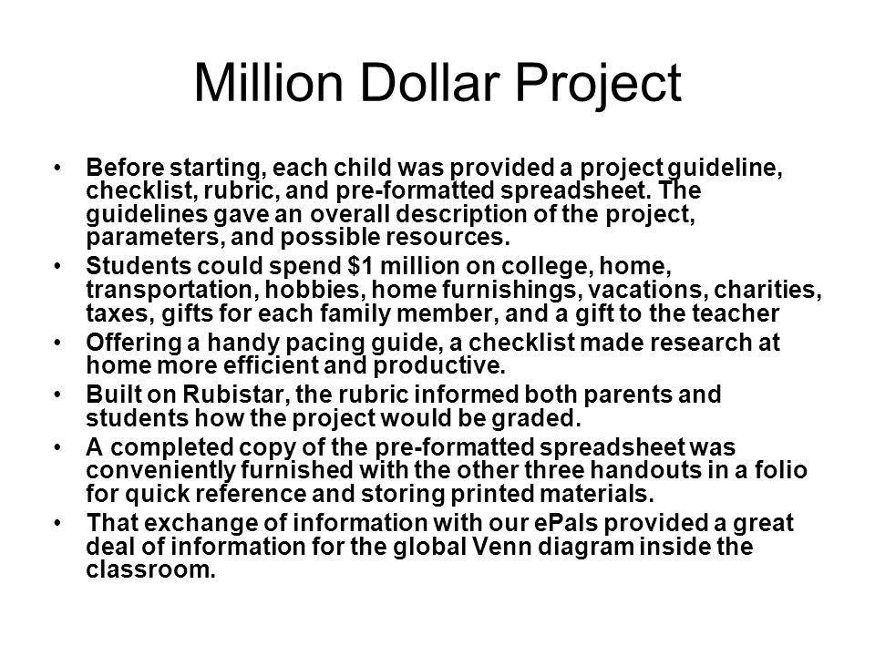 Million Dollar Project Before starting, each child was provided a project guideline, checklist, rubric, and pre-formatted spreadsheet. The guidelines