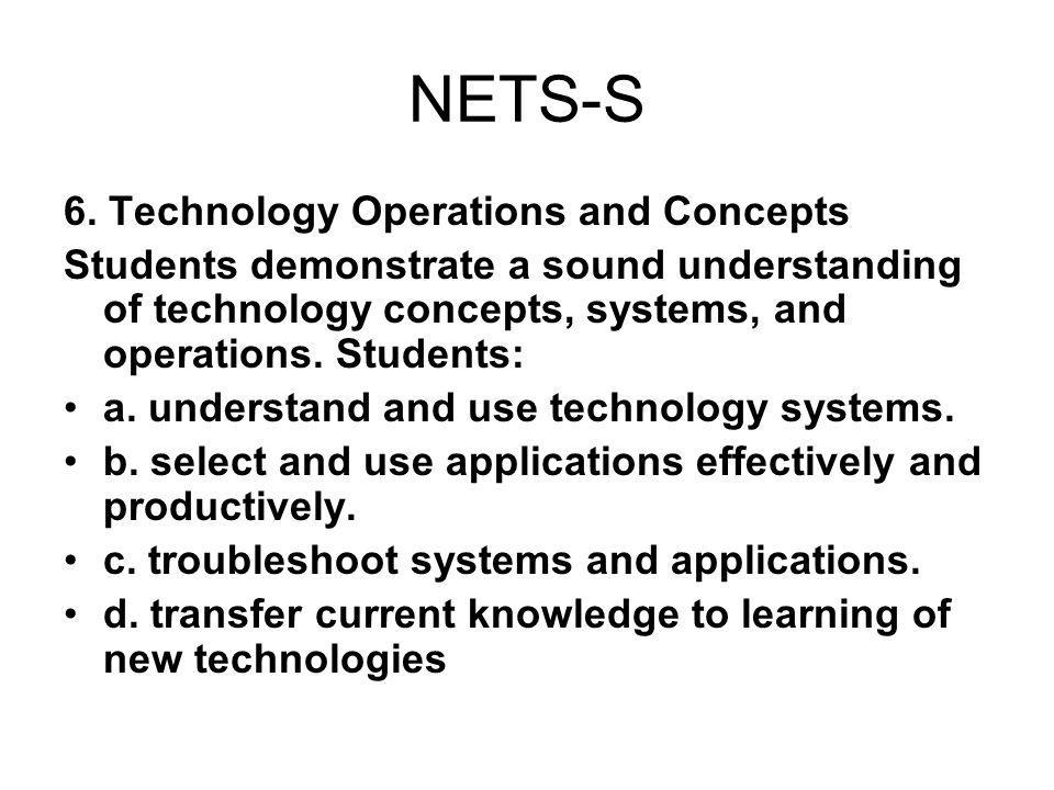 NETS-S 6. Technology Operations and Concepts Students demonstrate a sound understanding of technology concepts, systems, and operations. Students: a.