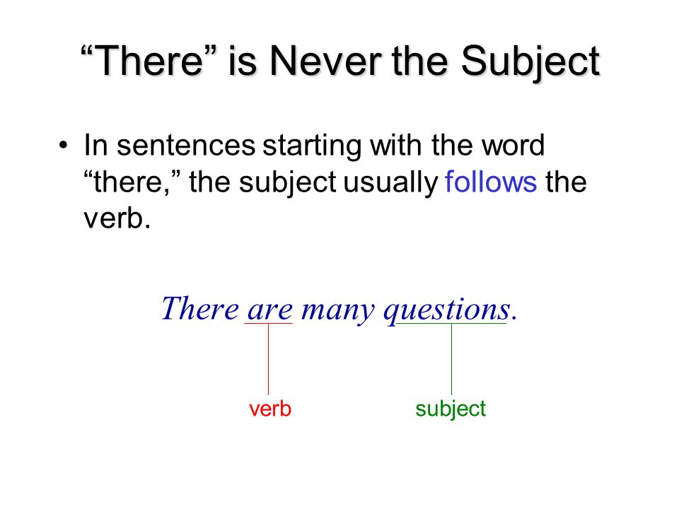 There is Never the Subject In sentences starting with the word there, the subject usually follows the verb.