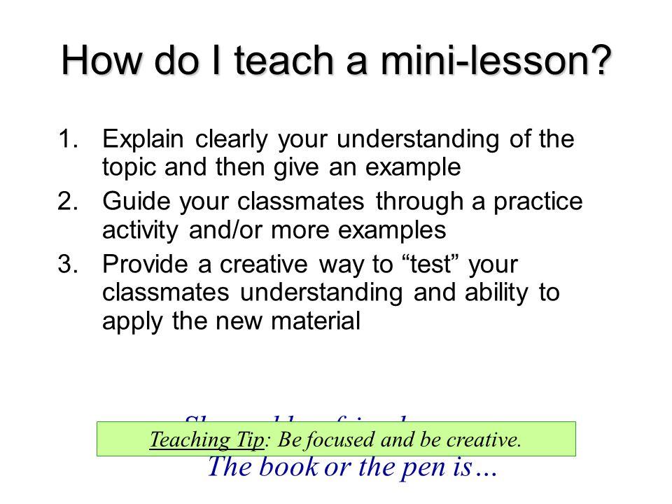 How do I teach a mini-lesson.