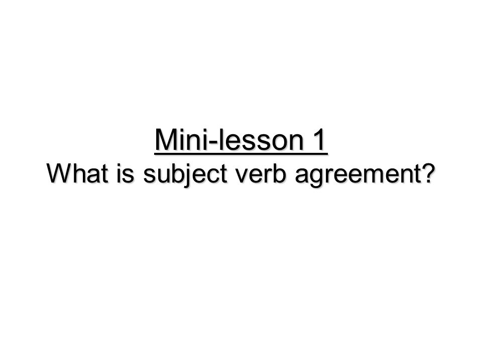 Mini-lesson 1 What is subject verb agreement