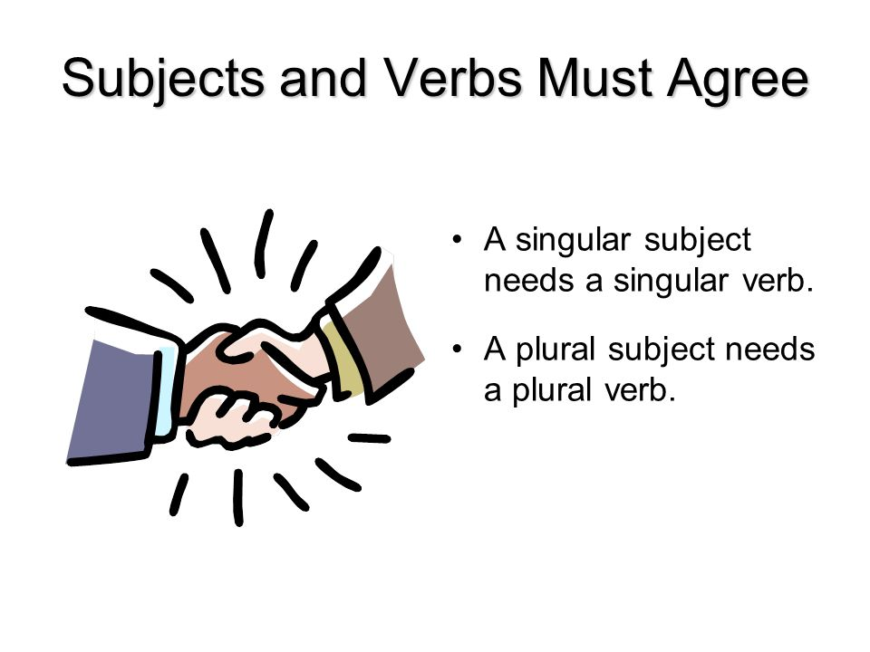 Subjects and Verbs Must Agree A singular subject needs a singular verb.