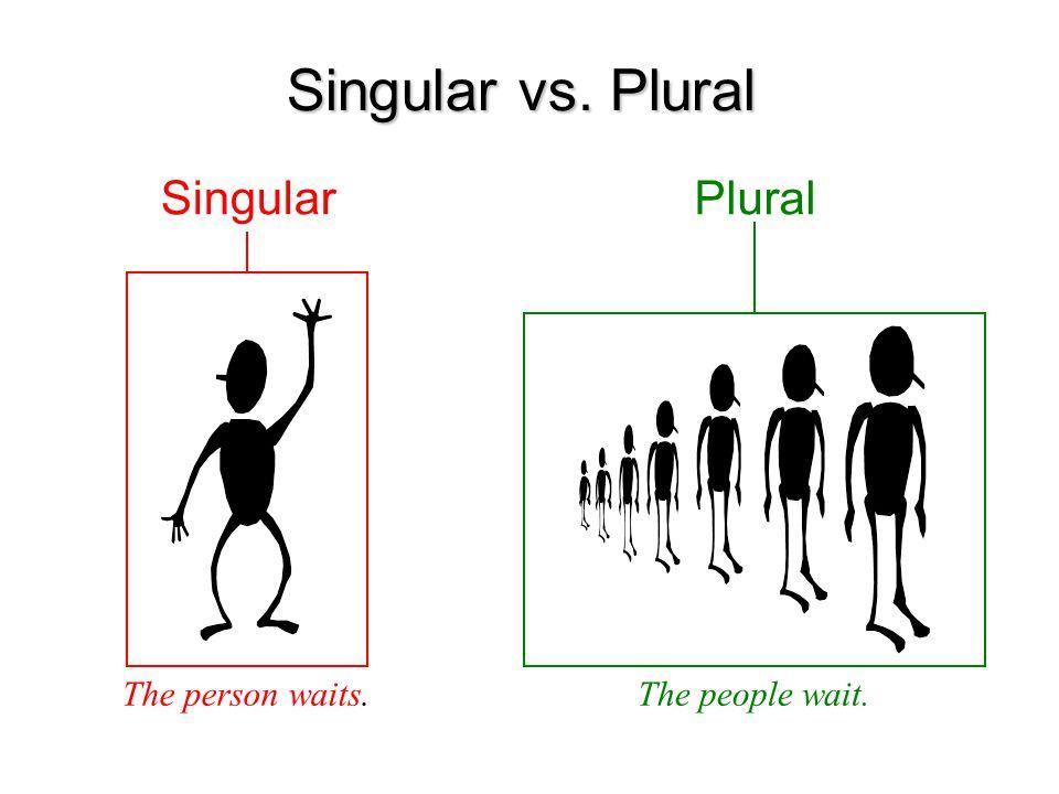 Singular vs. Plural Singular The person waits. Plural The people wait.