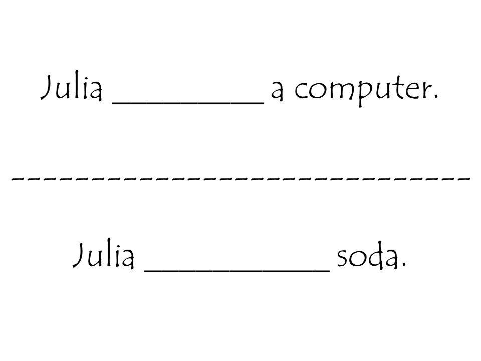 Julia _________ a computer. ----------------------------- Julia ___________ soda.