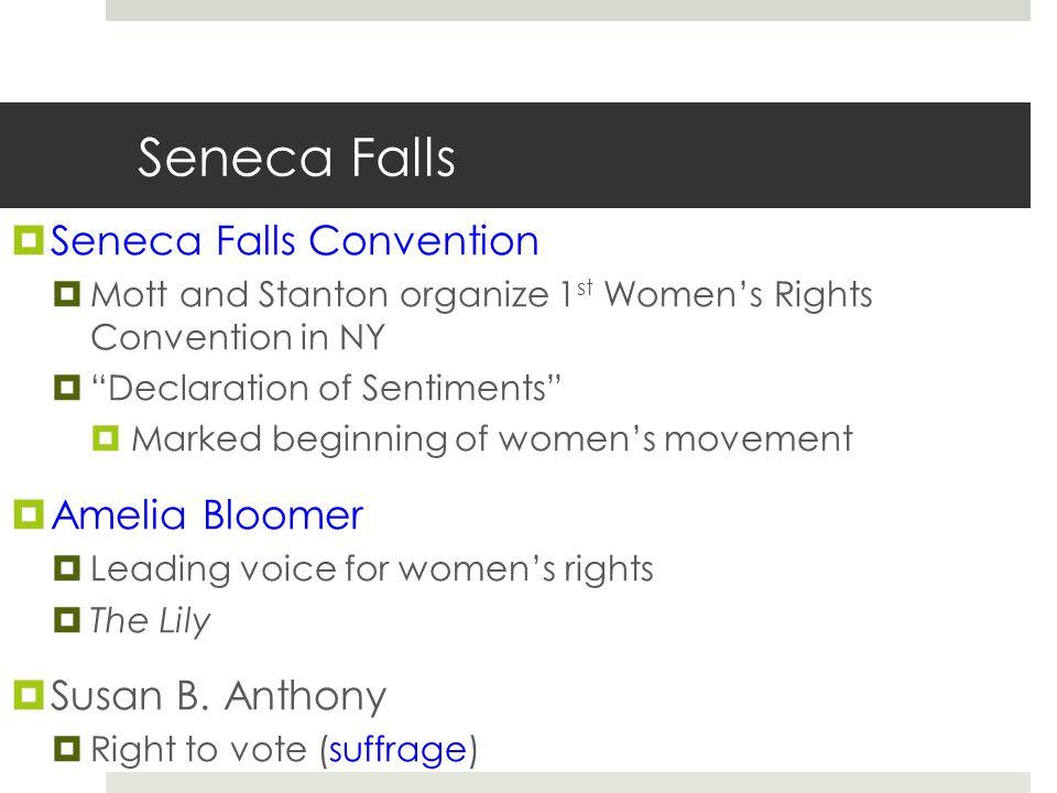 "Seneca Falls  Seneca Falls Convention  Mott and Stanton organize 1 st Women's Rights Convention in NY  ""Declaration of Sentiments""  Marked beginni"