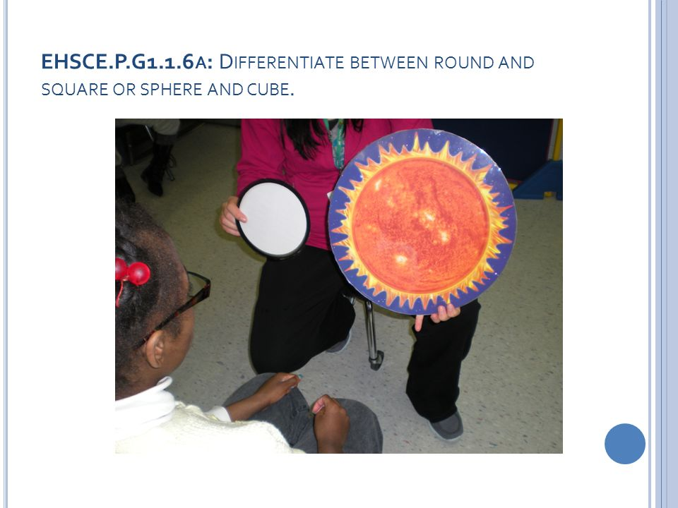 EHSCE.P.G1.1.6 A : D IFFERENTIATE BETWEEN ROUND AND SQUARE OR SPHERE AND CUBE.
