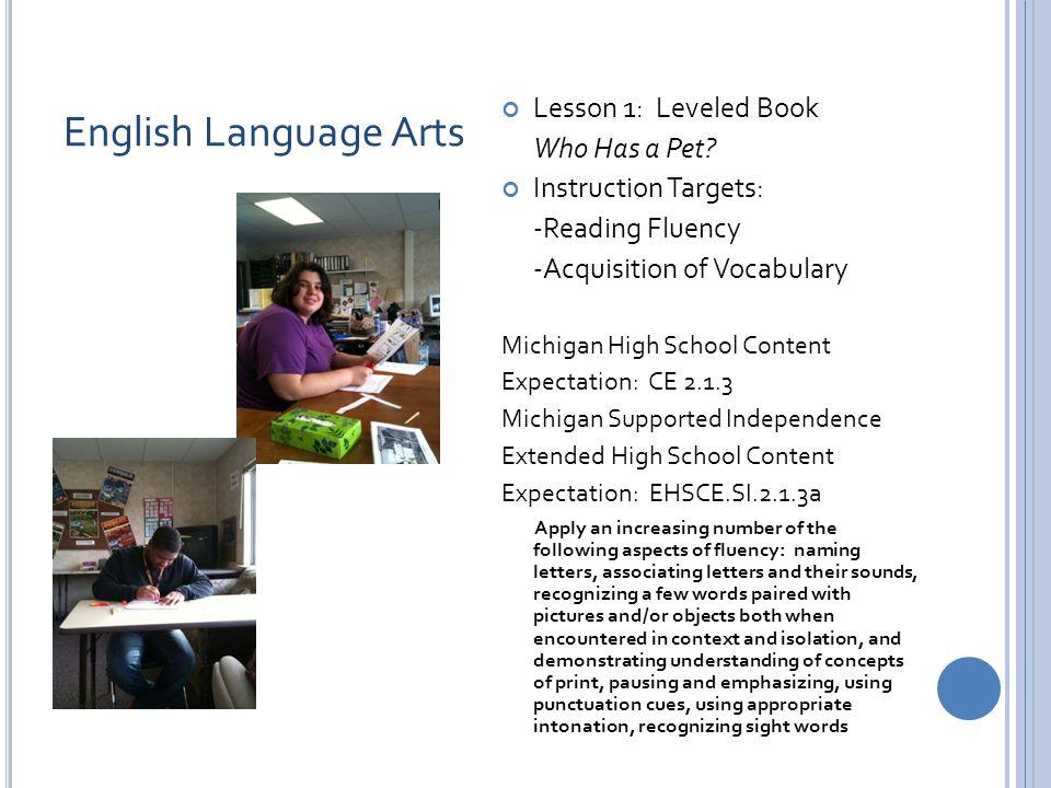 English Language Arts Lesson 1: Leveled Book Who Has a Pet.