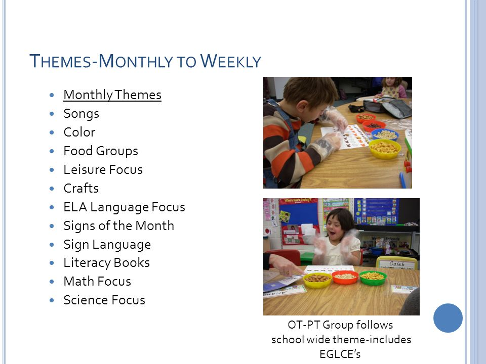 T HEMES -M ONTHLY TO W EEKLY Monthly Themes Songs Color Food Groups Leisure Focus Crafts ELA Language Focus Signs of the Month Sign Language Literacy Books Math Focus Science Focus OT-PT Group follows school wide theme-includes EGLCE's