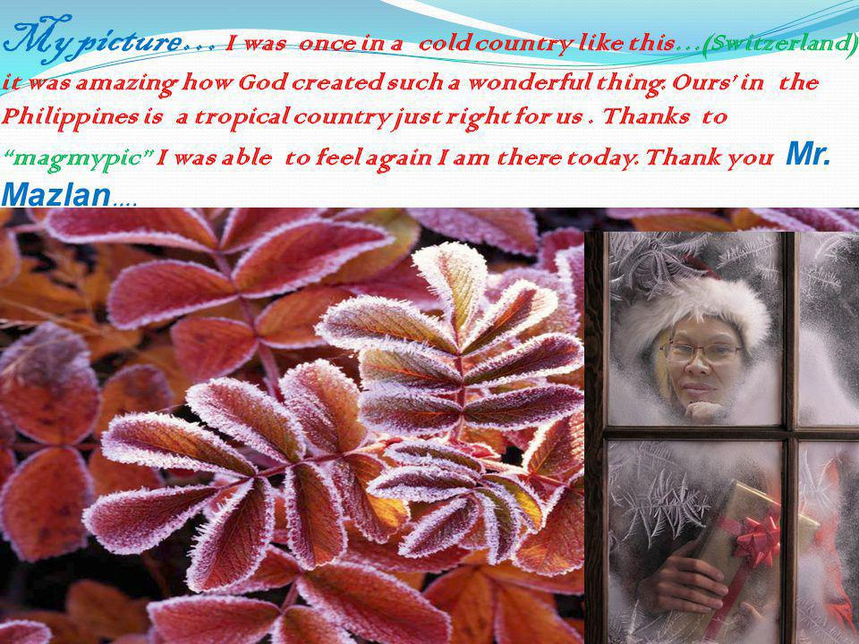 My picture … I was once in a cold country like this…(Switzerland) it was amazing how God created such a wonderful thing. Ours' in the Philippines is a