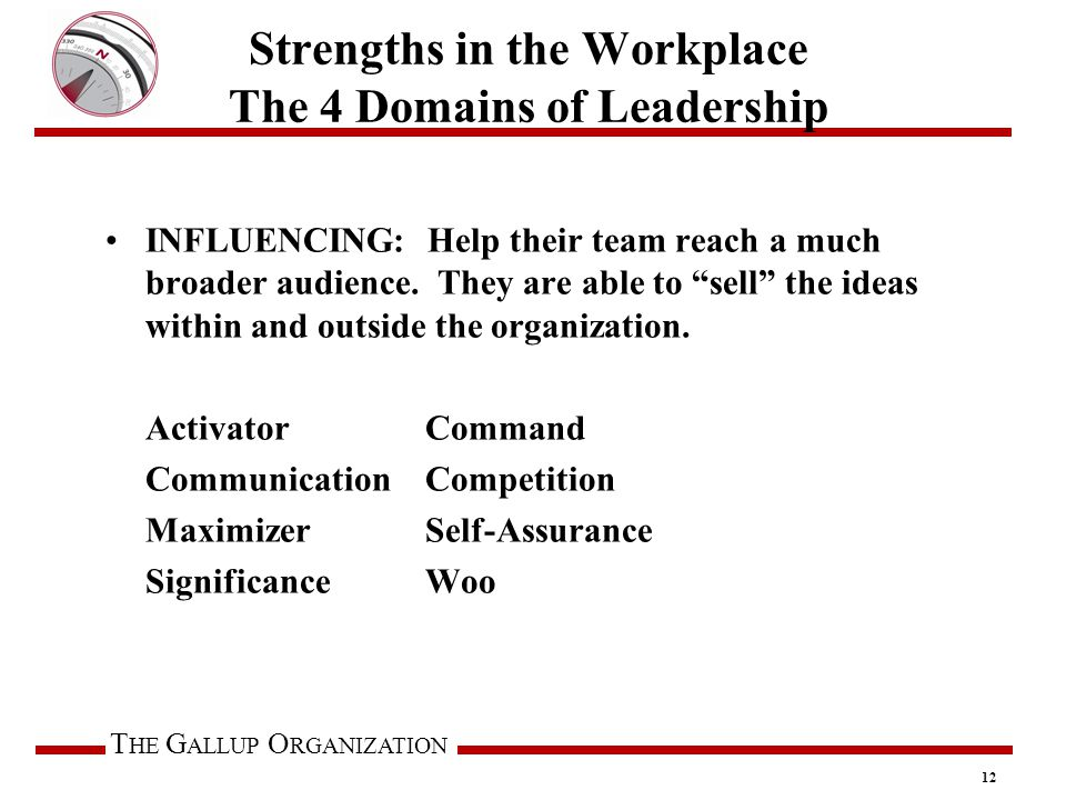 T HE G ALLUP O RGANIZATION Strengths in the Workplace The 4 Domains of Leadership INFLUENCING: Help their team reach a much broader audience.