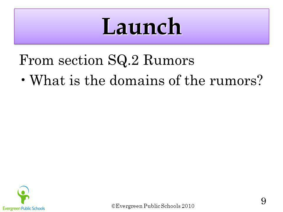 ©Evergreen Public Schools 2010 9 LaunchLaunch From section SQ.2 Rumors What is the domains of the rumors?