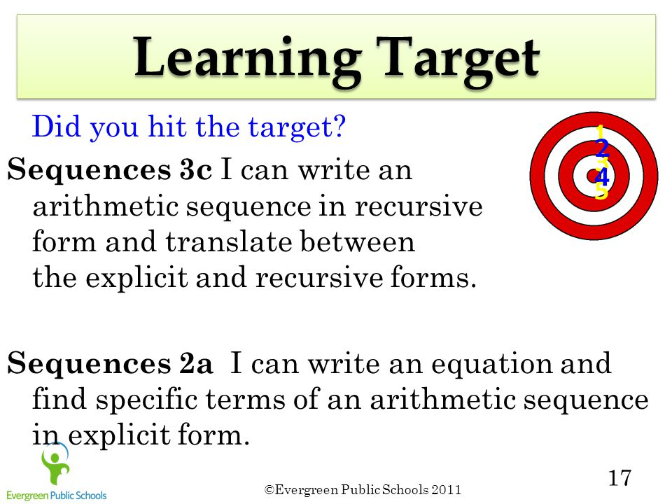 ©Evergreen Public Schools 2011 17 5 3 1 2 4 Learning Target Did you hit the target.