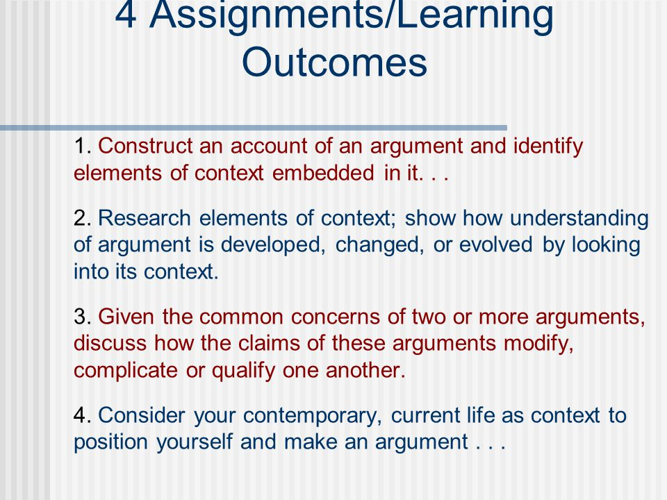 Assignment 2 Learning Outcome: Follow avenues of investigation that are opened by noticing elements of context; research those elements and show how one s understanding of the argument is developed, changed, or evolved by looking into its context.
