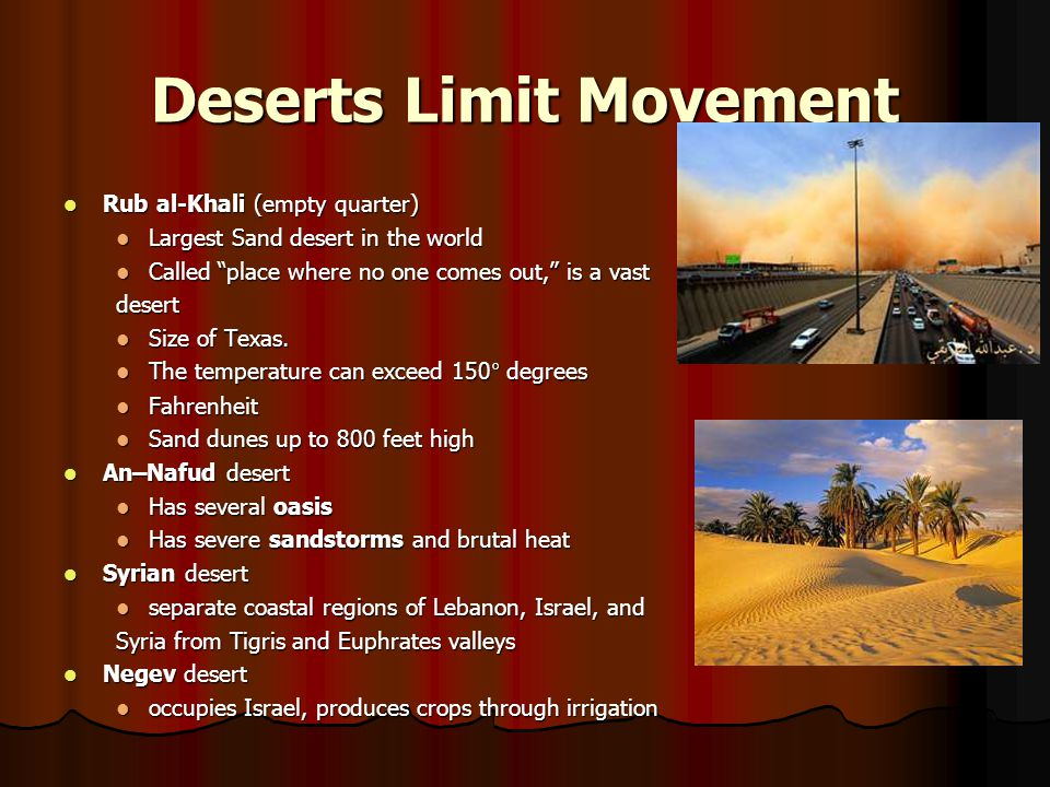Deserts Limit Movement Rub al-Khali (empty quarter) Rub al-Khali (empty quarter) Largest Sand desert in the world Largest Sand desert in the world Cal