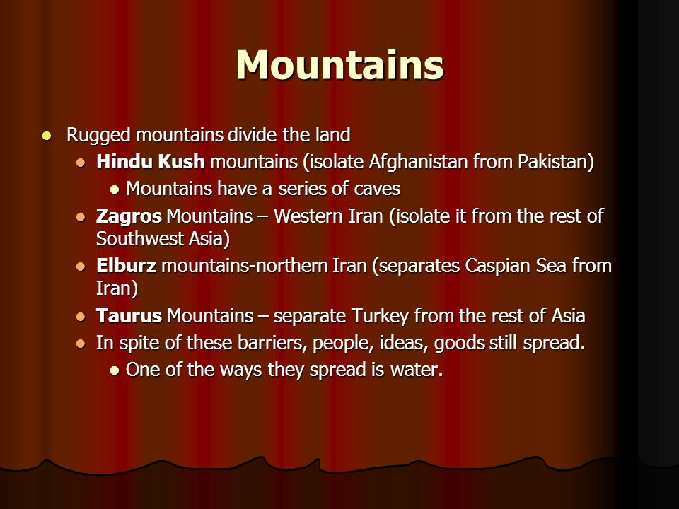 Salt Deserts Lands in the rain shadow of a mountain range are usually arid Lands in the rain shadow of a mountain range are usually arid In Iran, mountains block rain and dry winds increase evaporation.