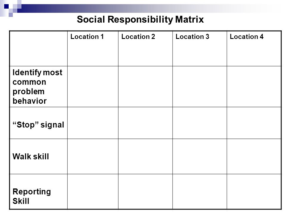 Social Responsibility Matrix Location 1Location 2Location 3Location 4 Identify most common problem behavior Stop signal Walk skill Reporting Skill