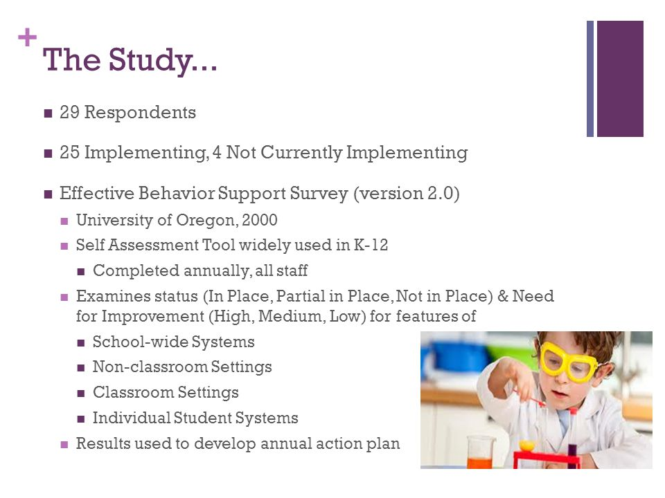 + The Study... 29 Respondents 25 Implementing, 4 Not Currently Implementing Effective Behavior Support Survey (version 2.0) University of Oregon, 2000