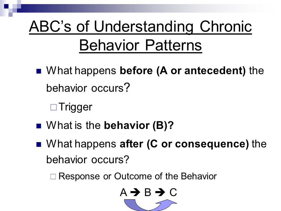 ABC's of Understanding Chronic Behavior Patterns What happens before (A or antecedent) the behavior occurs ?  Trigger What is the behavior (B)? What