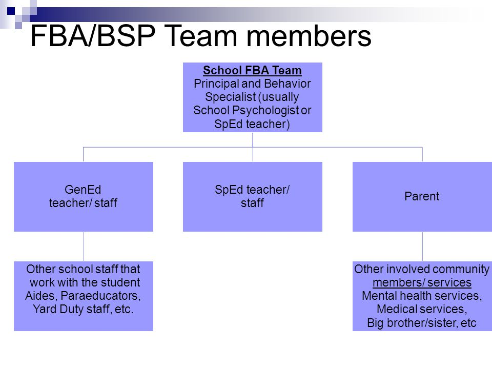 FBA/BSP Team members School FBA Team Principal and Behavior Specialist (usually School Psychologist or SpEd teacher) GenEd teacher/ staff Other school