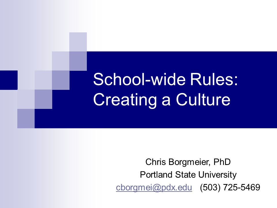 School-wide Rules: Creating a Culture Chris Borgmeier, PhD Portland State University cborgmei@pdx.educborgmei@pdx.edu (503) 725-5469