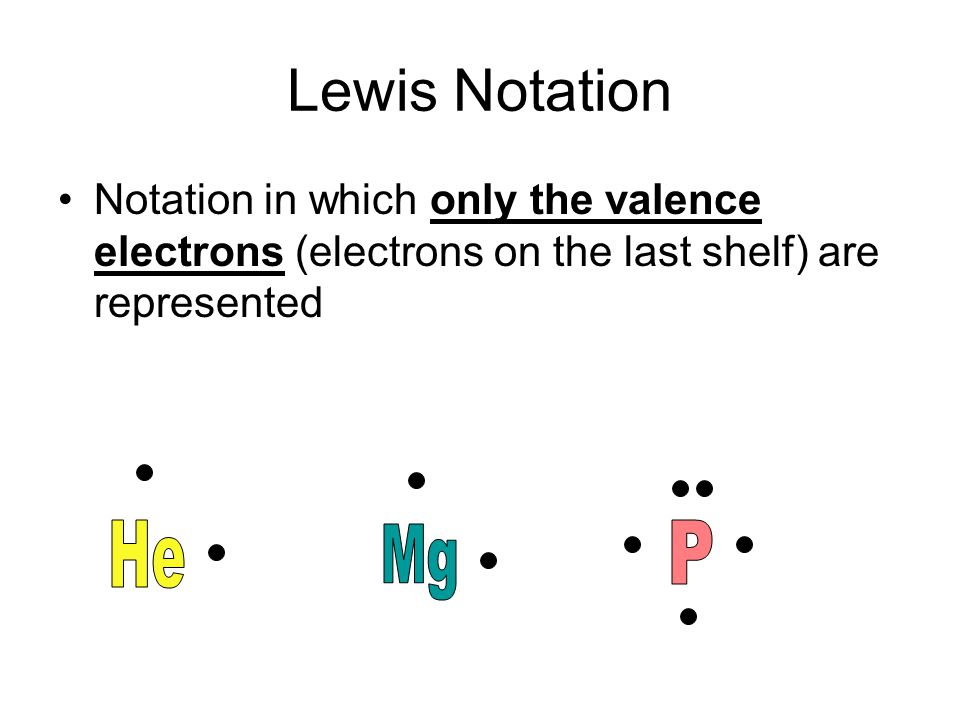Lewis Notation Notation in which only the valence electrons (electrons on the last shelf) are represented