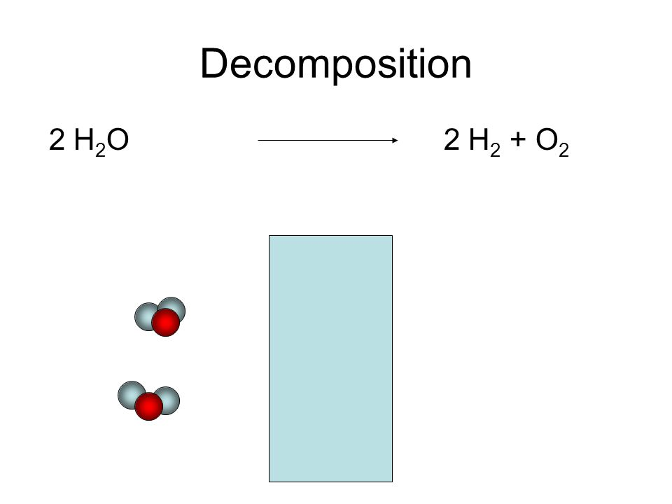 Decomposition 2 H 2 O 2 H 2 + O 2