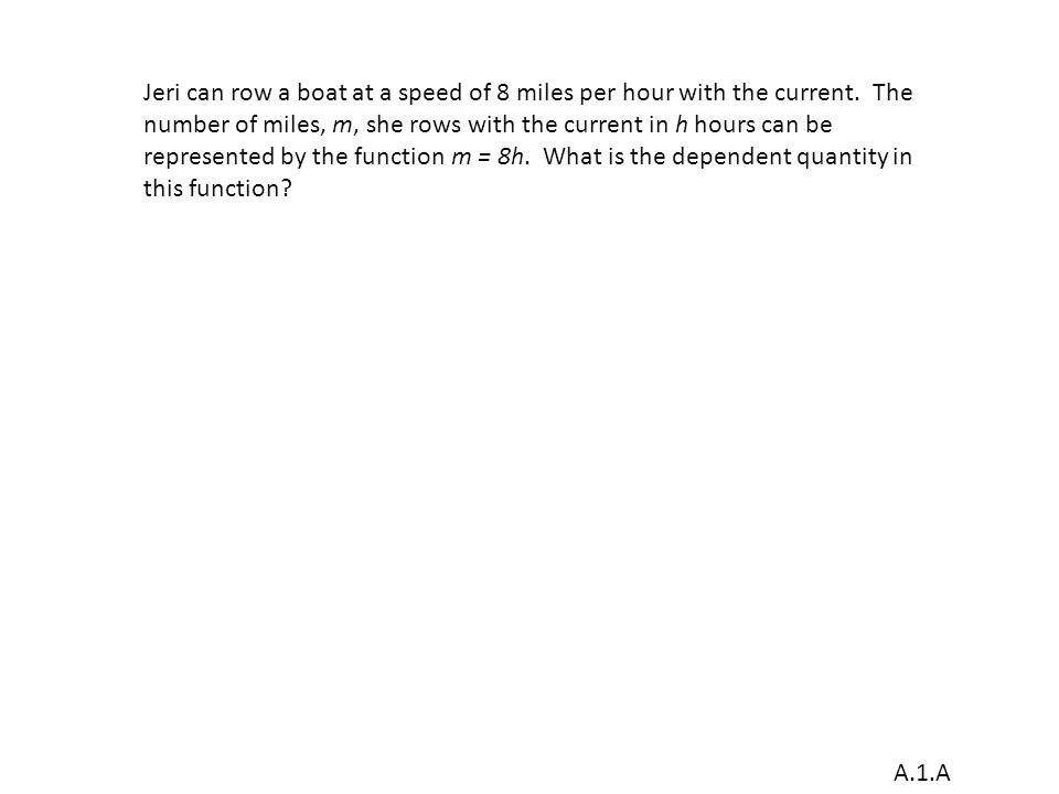 A.1.A Jeri can row a boat at a speed of 8 miles per hour with the current.