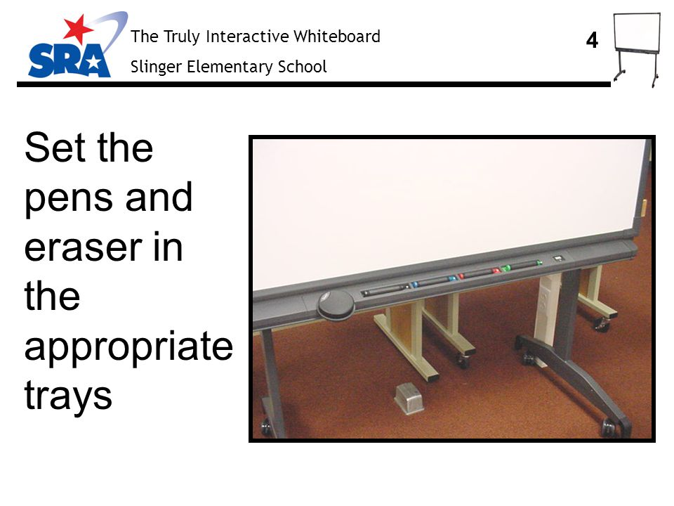 The Truly Interactive Whiteboard Slinger Elementary School 15 Turn on the main power switch at the back of the projector, then press the power button on the top