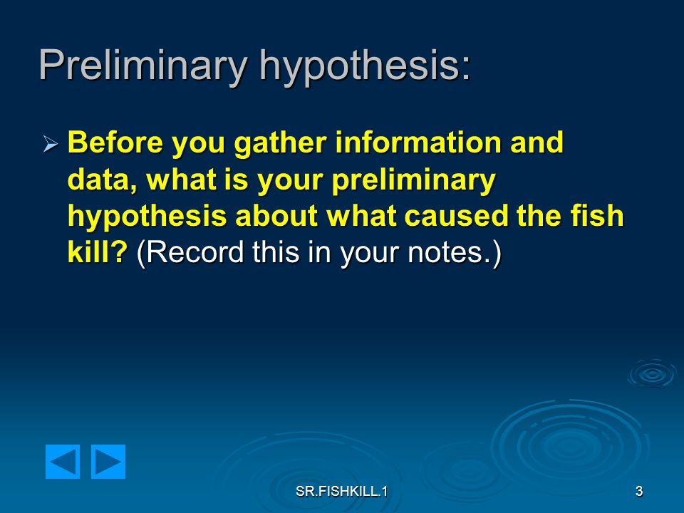 SR.FISHKILL.13 Preliminary hypothesis:  Before you gather information and data, what is your preliminary hypothesis about what caused the fish kill.