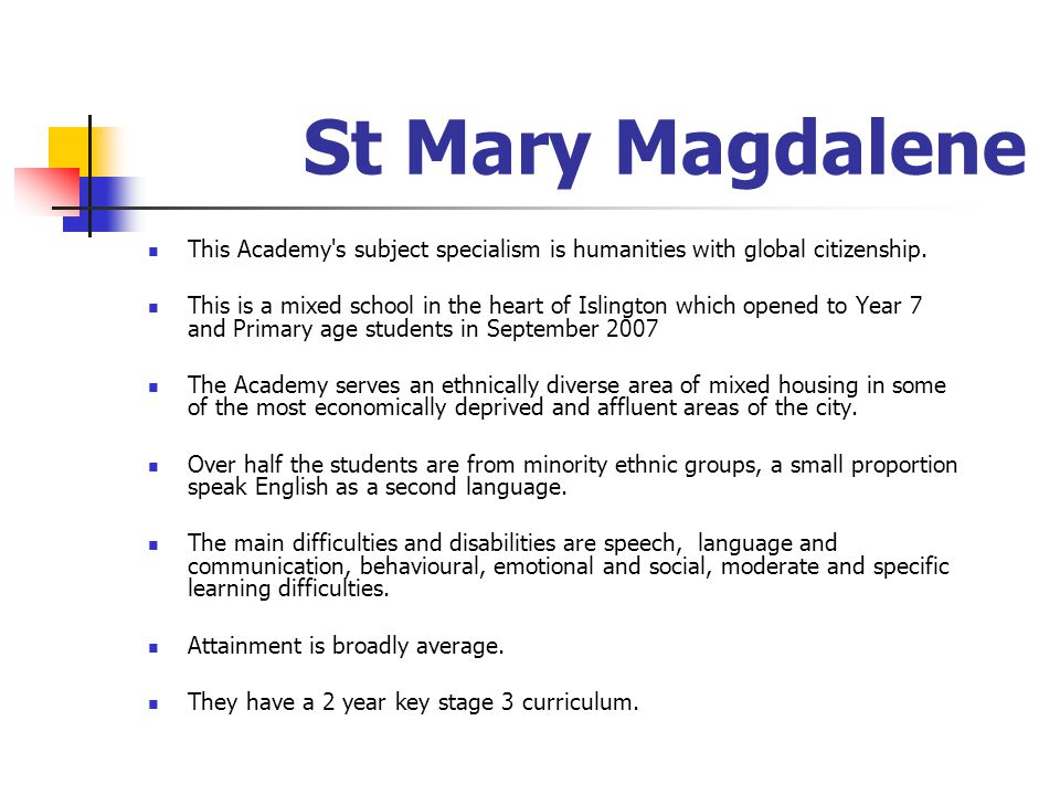 St Mary Magdalene This Academy s subject specialism is humanities with global citizenship.