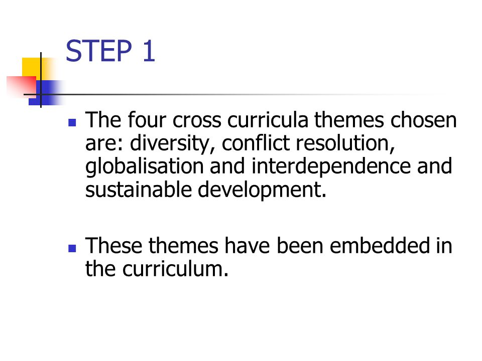 STEP 1 The four cross curricula themes chosen are: diversity, conflict resolution, globalisation and interdependence and sustainable development.
