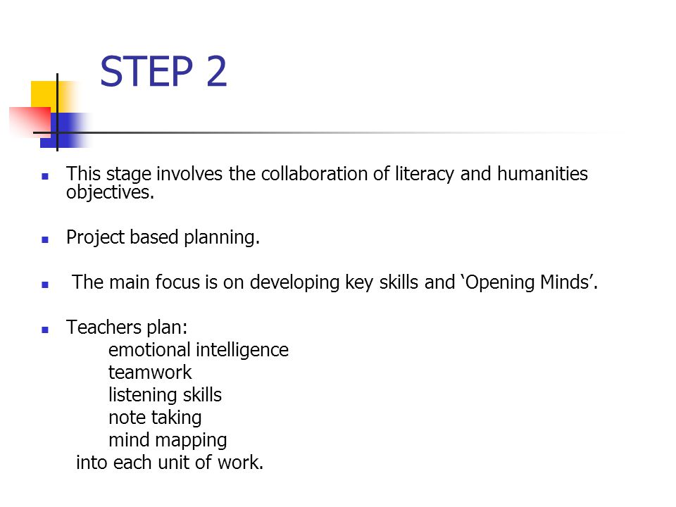 STEP 2 This stage involves the collaboration of literacy and humanities objectives.