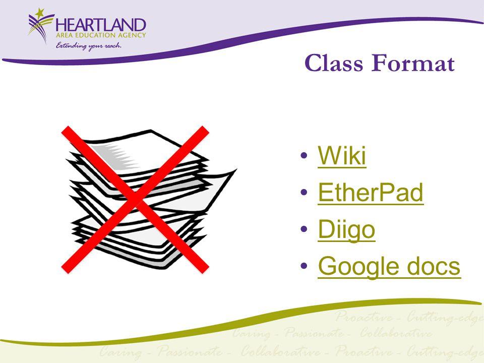 Class Format Wiki EtherPad Diigo Google docs