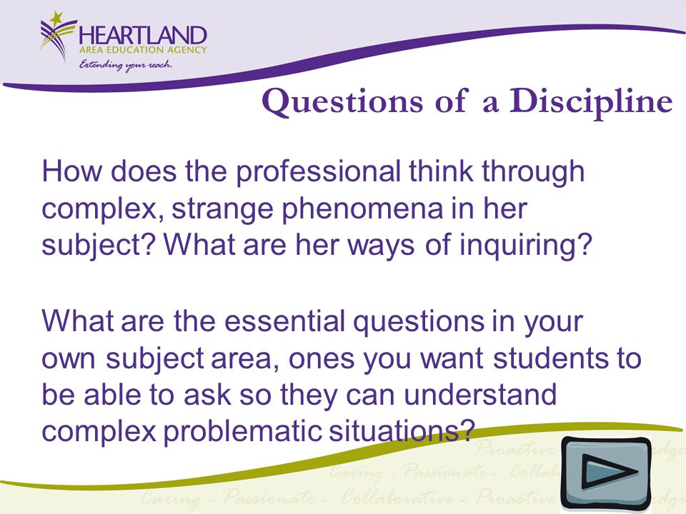 Questions of a Discipline How does the professional think through complex, strange phenomena in her subject.