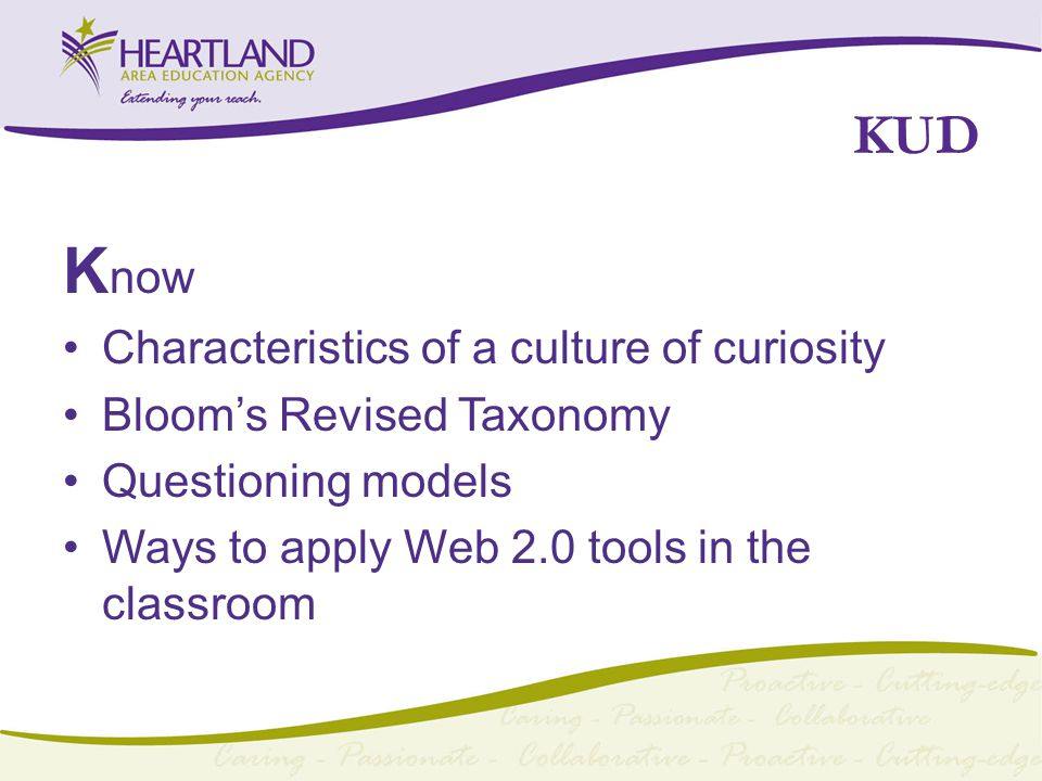KUD K now Characteristics of a culture of curiosity Bloom's Revised Taxonomy Questioning models Ways to apply Web 2.0 tools in the classroom