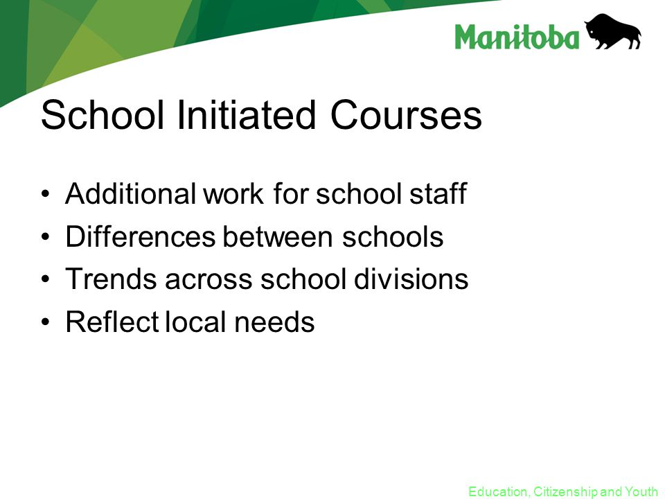 Education, Citizenship and Youth School Initiated Courses Additional work for school staff Differences between schools Trends across school divisions Reflect local needs